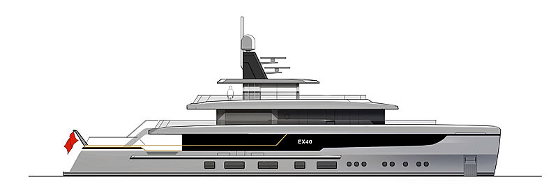 EX40 yacht concept profile rendering