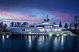 Moskito yacht at night in Hellevoetsluis