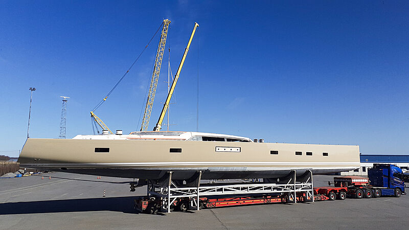 Swan 120/01 yacht hull in outfitting phase