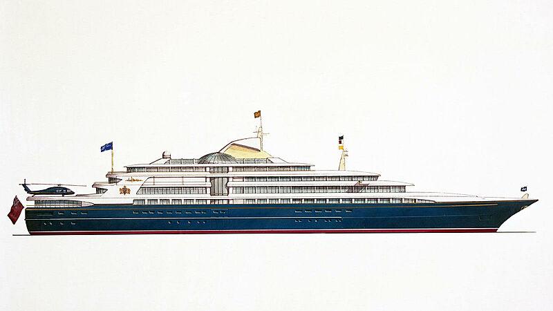 Royal yacht Britannia profile rendering