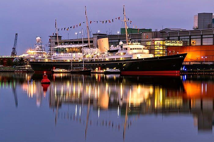 Royal yacht Britannia at night