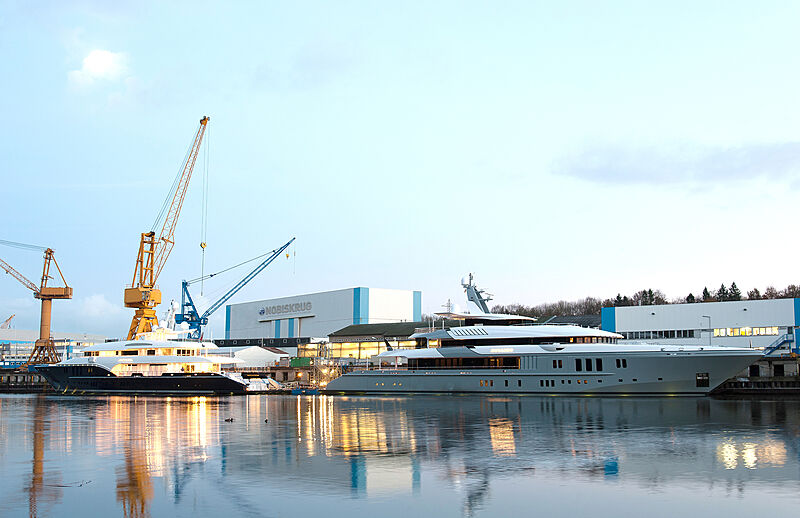 Sapphire and Mogambo yachts fitting out at Nobiskrug shipyard