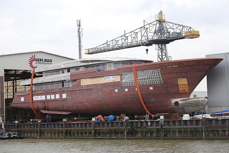Asia yacht hull at Buijs shipyard prior launch