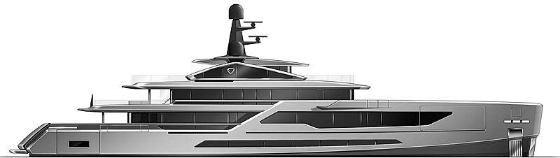 Tankoa T580 yacht profile rendering