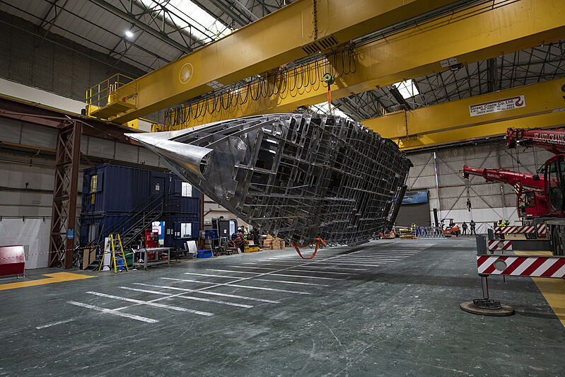 Project Ocean yacht hull turning