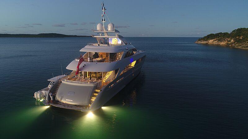 G3 yacht anchored at night
