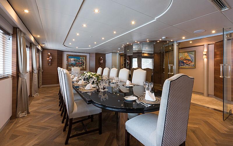 Lady A yacht dining