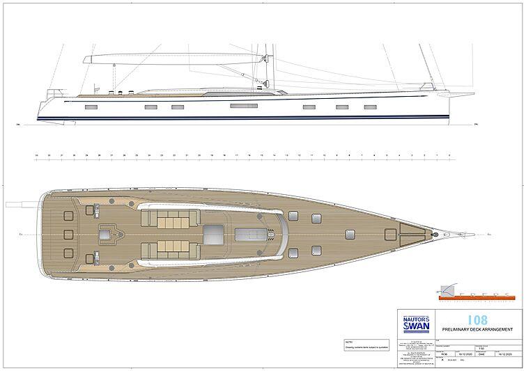 Swan 108 yacht standard deck plan