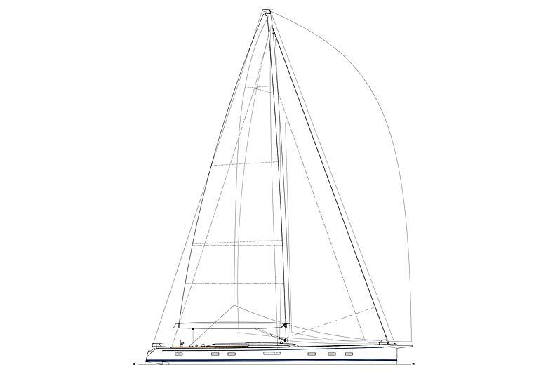 Swan 108 yacht standard sail plan