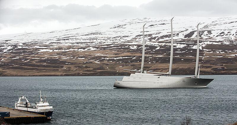Sailing yacht A in Akureyri, Iceland