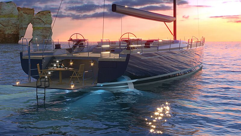 Southern Wind 108 Hybrid yacht rendering