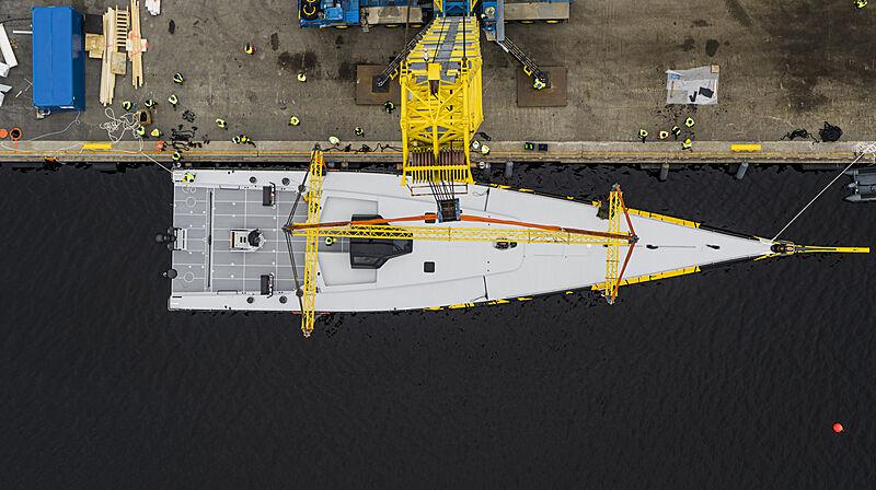 ClubSwan 125/01 yacht launch at Nautor's Swan shipyard