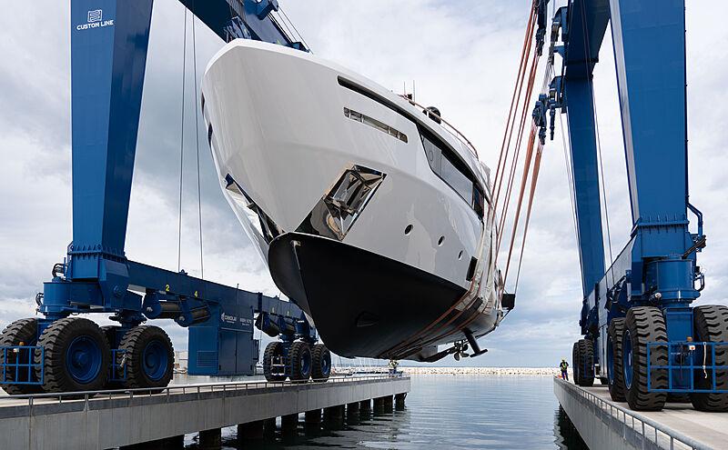 Mrs G yacht launch at Custom Line Ancona yard