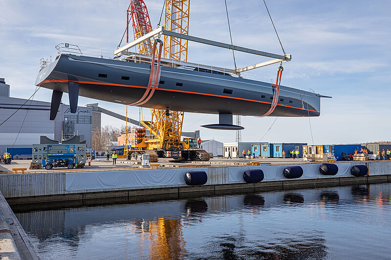 Path yacht launch at Baltic Yachts shipyard