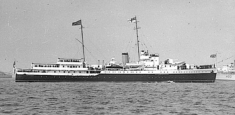 HMS Enchantress yacht anchored