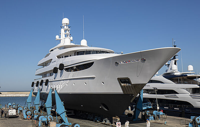 Oasis yacht out of water in Livorno
