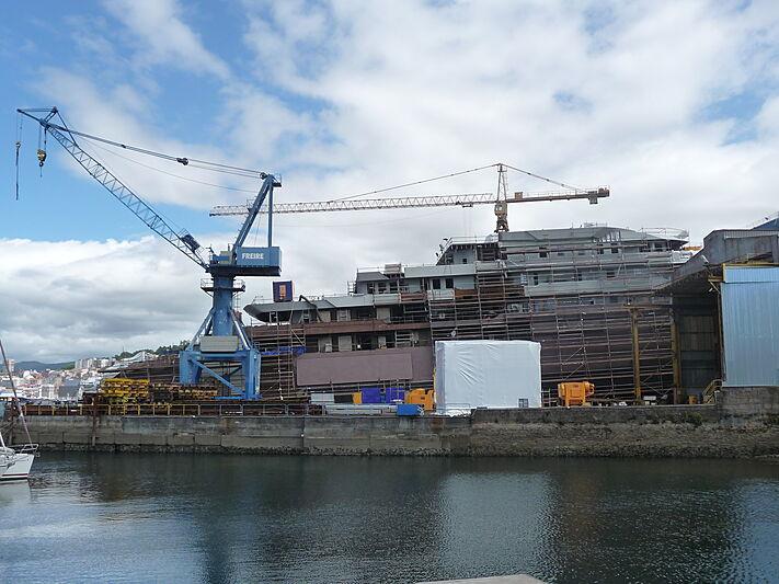 Freire 112m explorer yacht in build at Freire shipyard Vigo