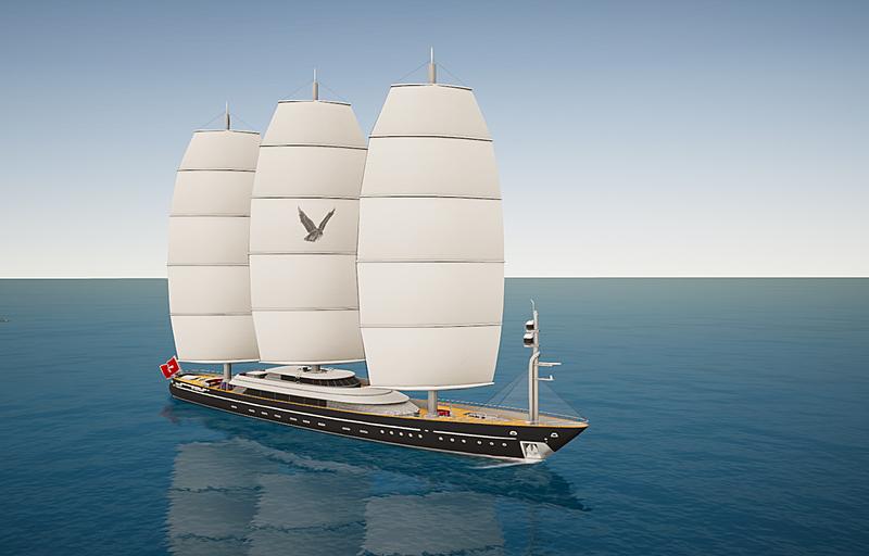Maltese Falcon yacht Perini Navi in SYT 3D