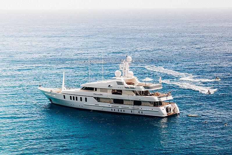 Hanikon yacht at anchor