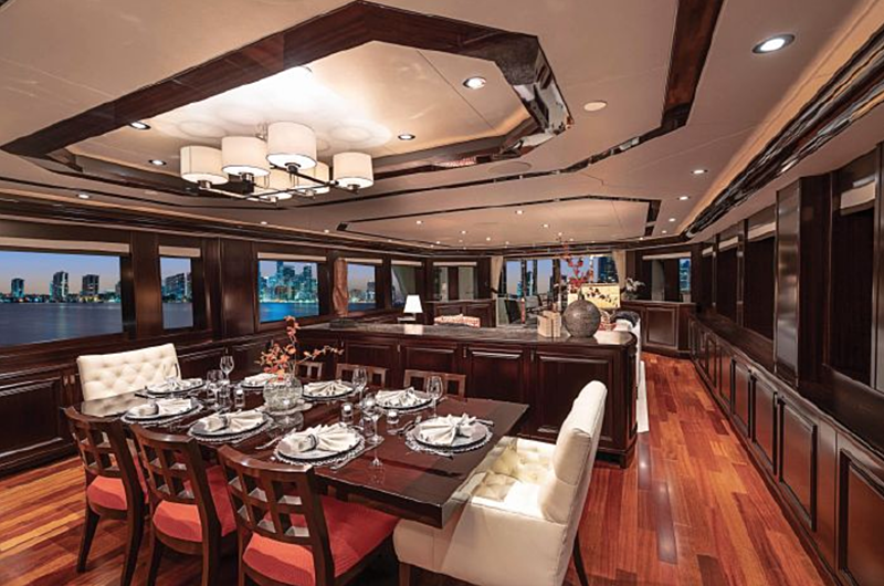 Release Me yacht dining