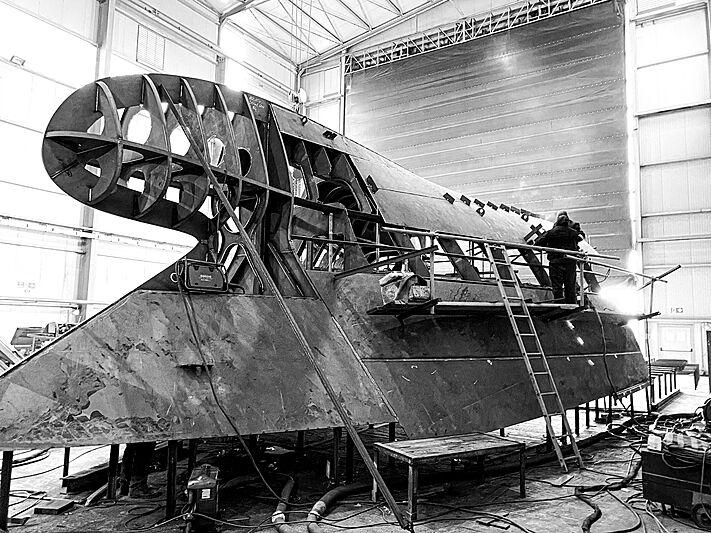 Ocean King Doge 400 yacht under construction