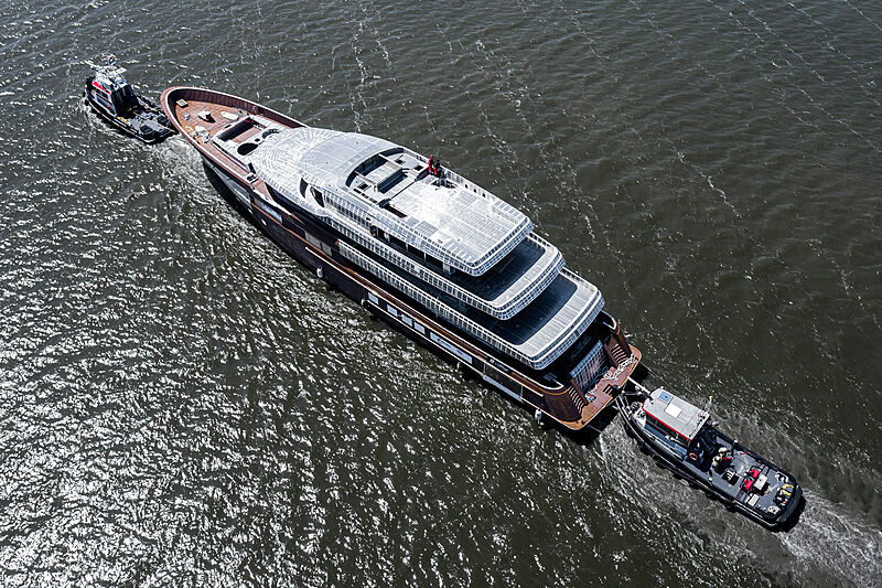 Project Asia yacht hull in transit
