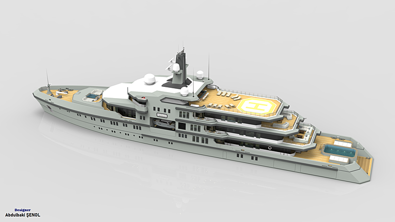 90m explorer superyacht concept Abdulaki Şenol