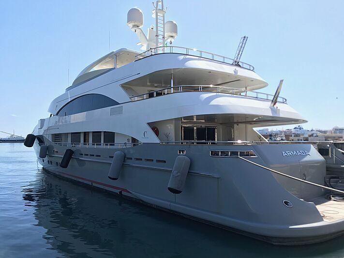 Armada yacht moored