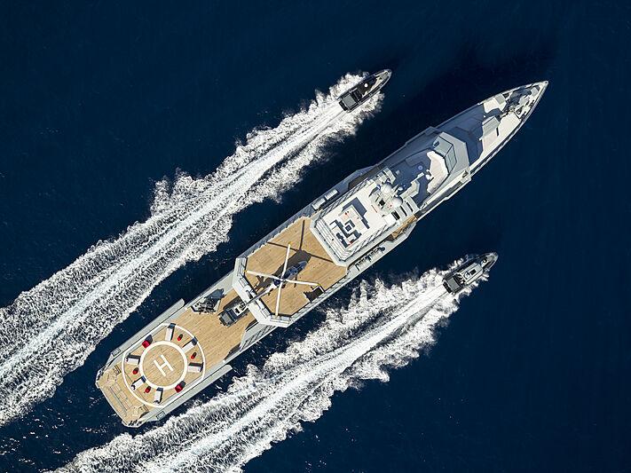 Superyacht cruising aerial