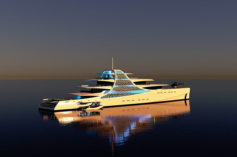 Project Crystal yacht exterior render