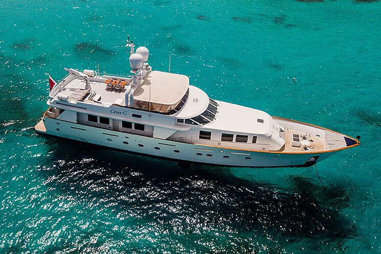 Criss C yacht anchored aerial