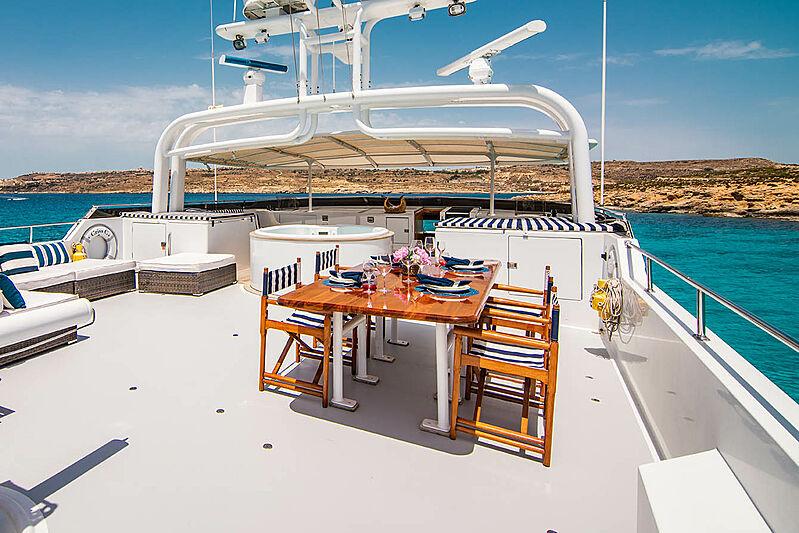 Criss C yacht sun deck dining