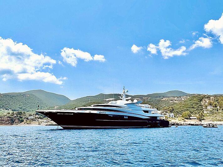 Wheels yacht anchored in Zakynthos