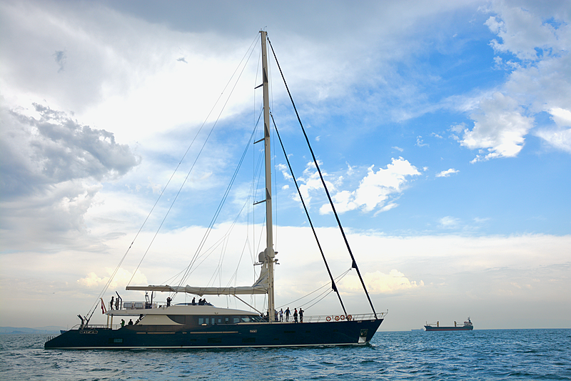 L'Aquila II yacht at anchor
