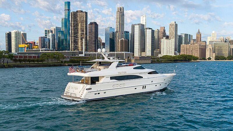 Triton motor yacht cruising