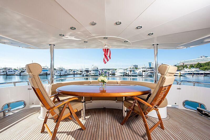 Triton motor yacht al fresco dining
