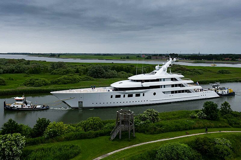 Bliss yacht in transport in the Netherlands