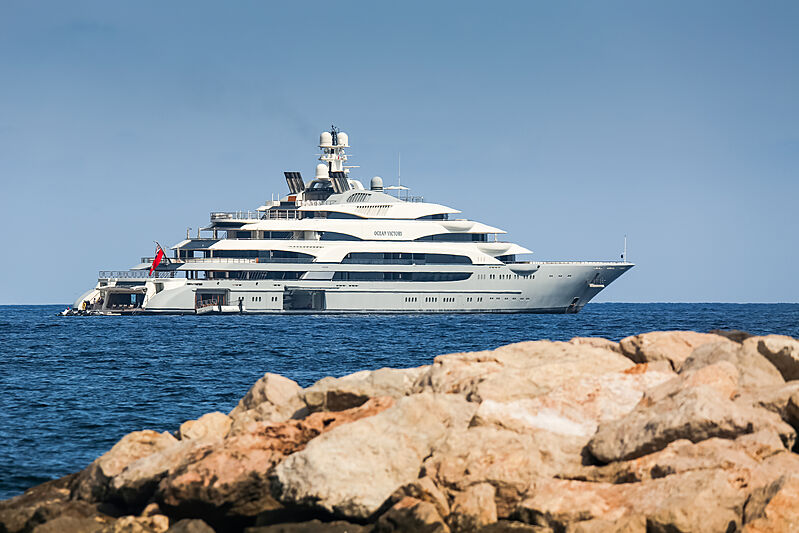 Ocean Victory yacht anchored on the French Riviera