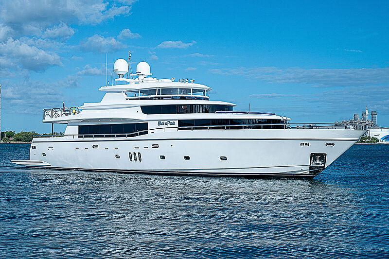 She's a Peach yacht anchored