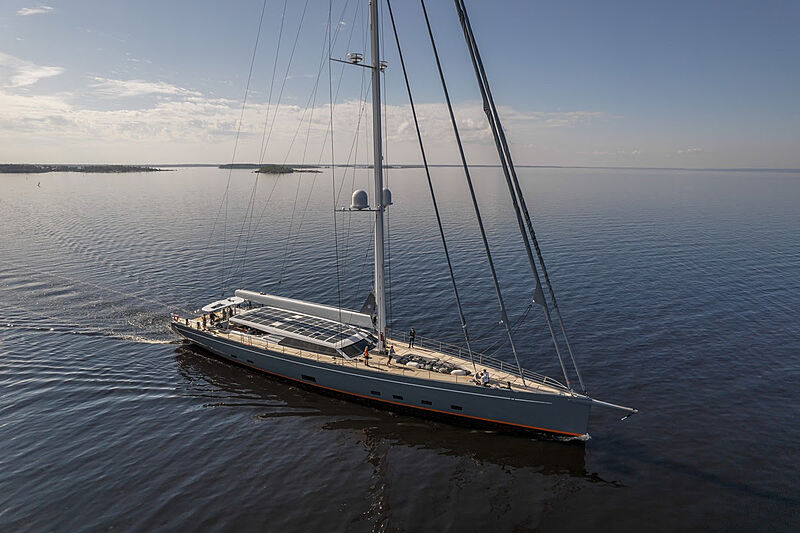 Path sailing yacht on sea trials