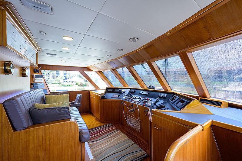 Aries yacht interior pilot house