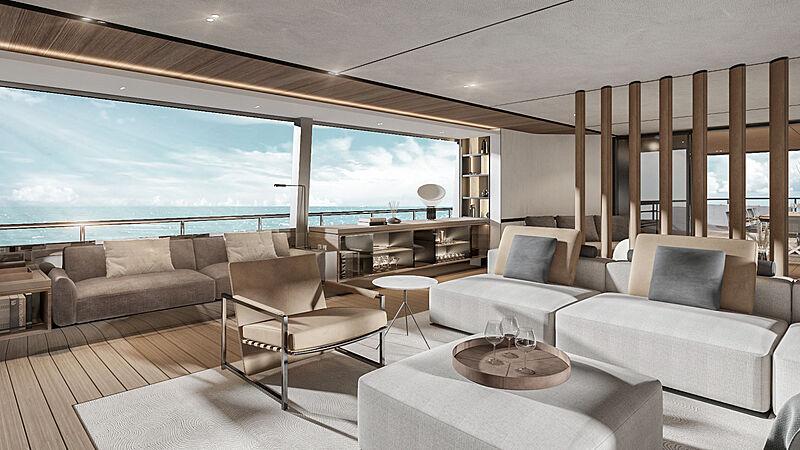 Codecasa C.127 yacht interior rendering
