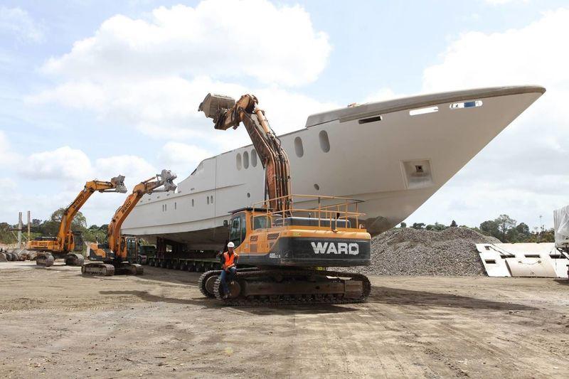 The hull of Sensation Yachts project SY32 at Ward Demolition