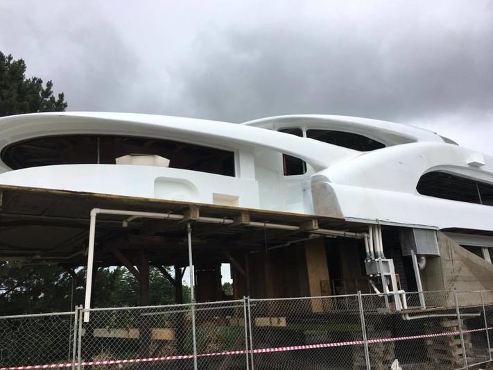 The superstructure of Sensation Yachts project SY32 at Ward Demolition