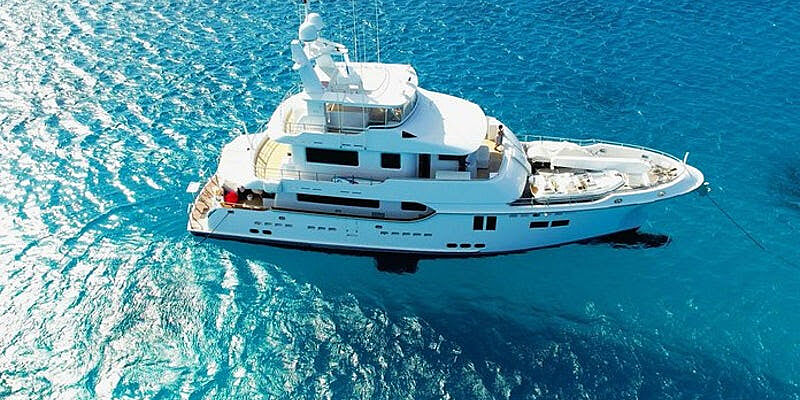 Arquimedes yacht at anchor