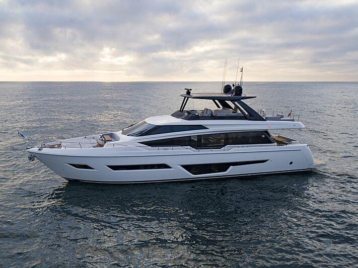 Ferretti 780 yacht anchored
