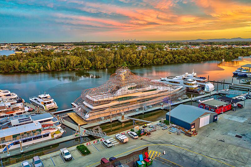 GCCM shipyard and marina motor yacht Lady Christine in refit