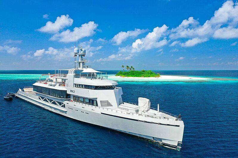 Bold superyacht anchored in Exumas
