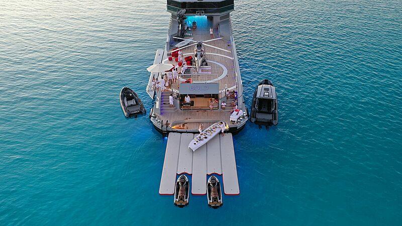 Bold superyacht anchored