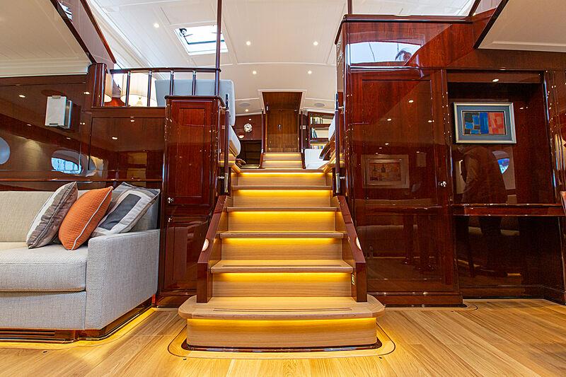 Grace III yacht staircase
